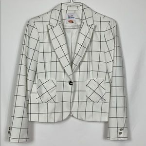Jules & Leopold white/black cropped blazer size Lg